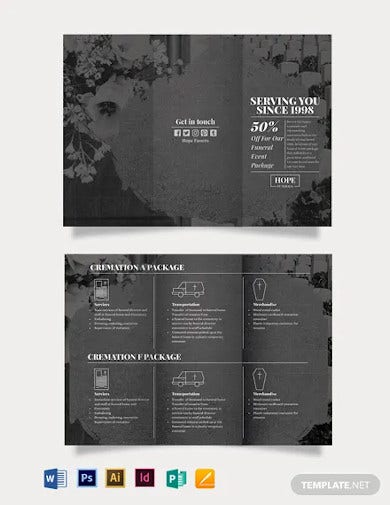 funeral event tri fold brochure template