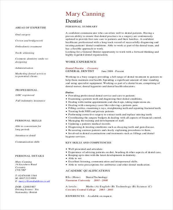 Good General Dentist Curriculum Vitae Regard To Dentist Resume Sample
