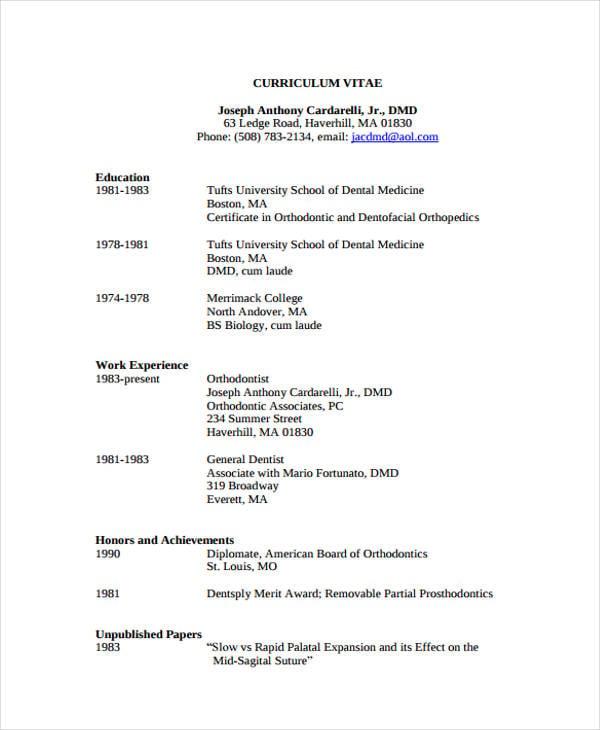 8+ Dentist Curriculum Vitae Templates - PDF, DOC | Free & Premium ...