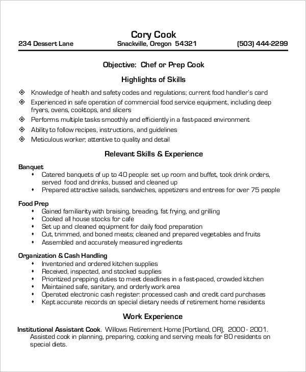 Cook Resumes   Free Word Pdf Format Download  Free  Premium