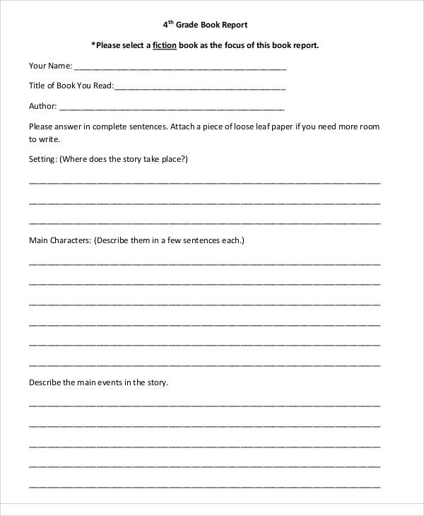 how to write a book report grade 8