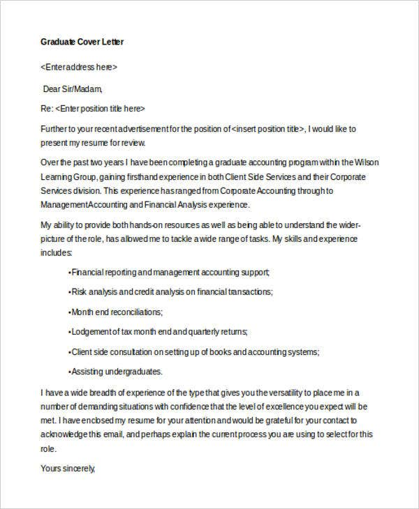 graduate cover letter format - Financial Cover Letter