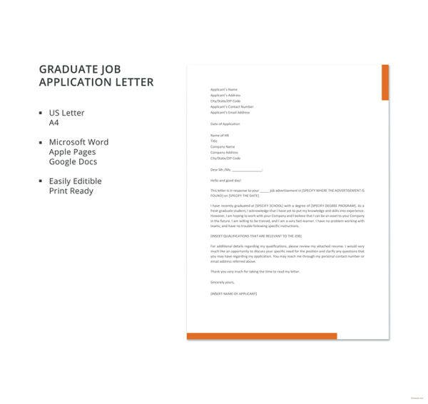 graduate job application letter template