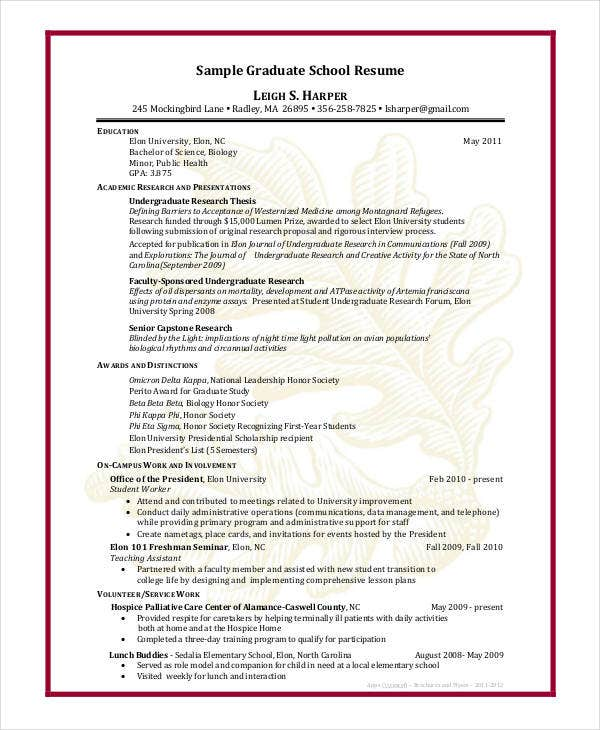 Resume Sample Graduate School Application Template Academic Curriculum  Vitae Grad  Sample Grad School Resume