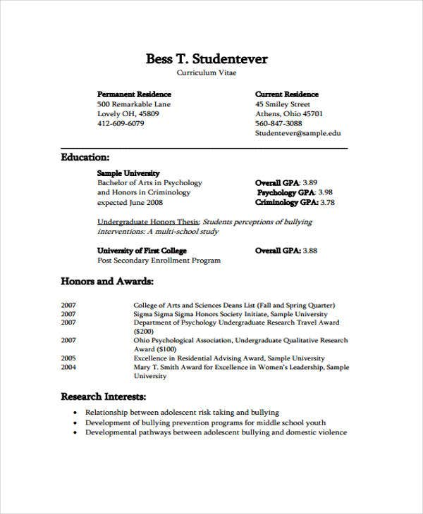 curriculum vitae examples for graduate students