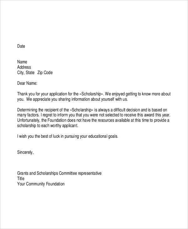 letter of support template grant - 6 grant rejection letters free sample example format