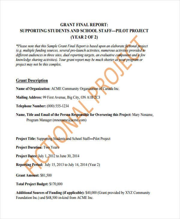 grant report sample 10  Grant Report Templates | Free