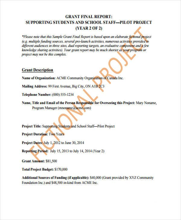 grant report sample 36 Report Templates in PDF | Free