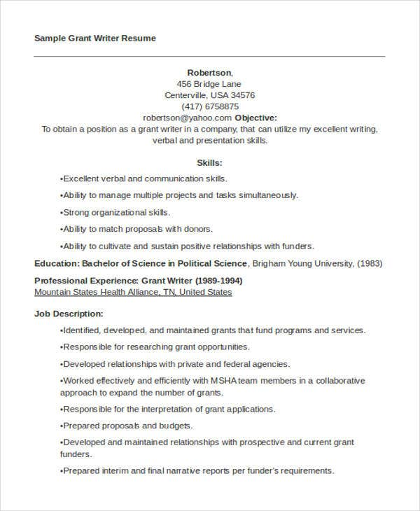 10  writer resume templates