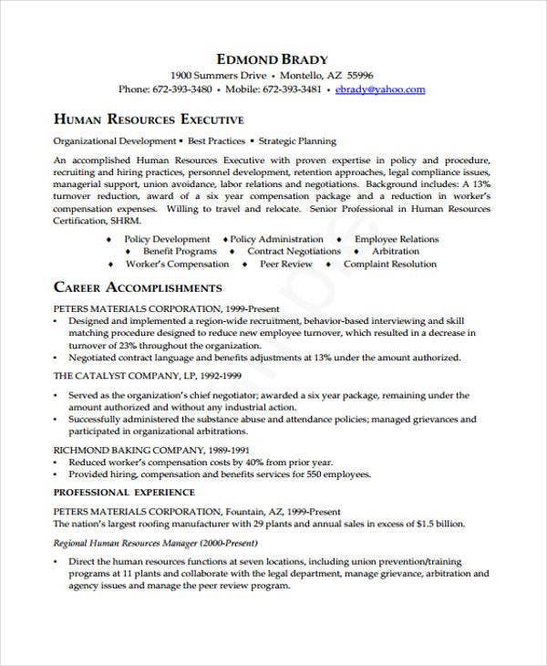 9  executive curriculum vitae templates