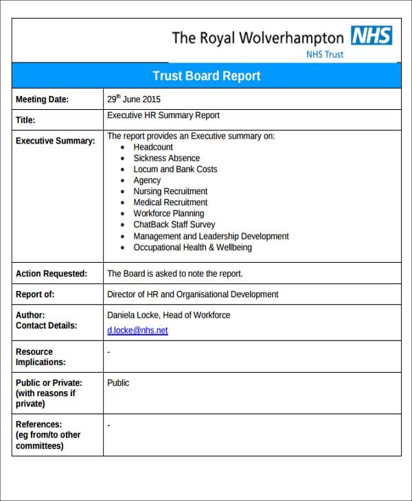 hr executive report