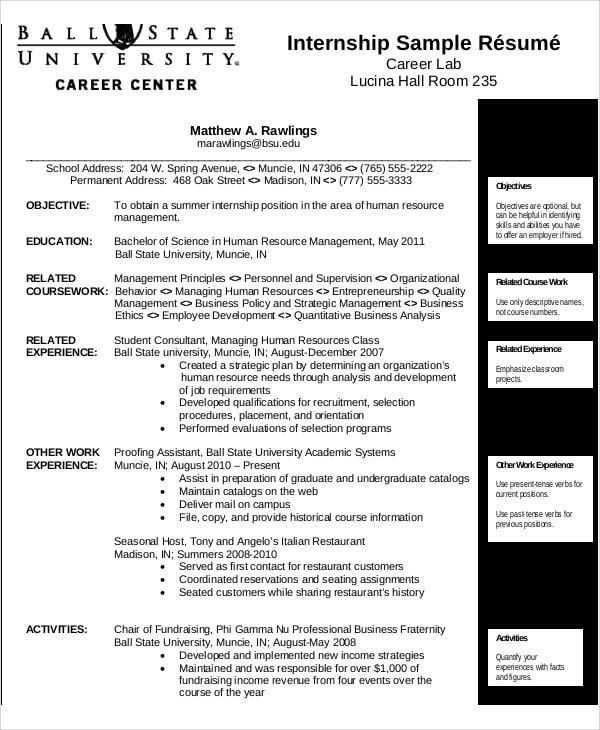10  internship curriculum vitae templates