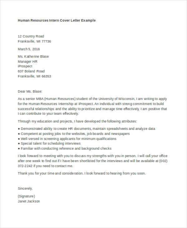 cover letter human resources internship sle