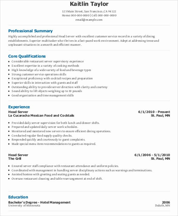 10 Server Resume Templates Pdf Doc Free Premium