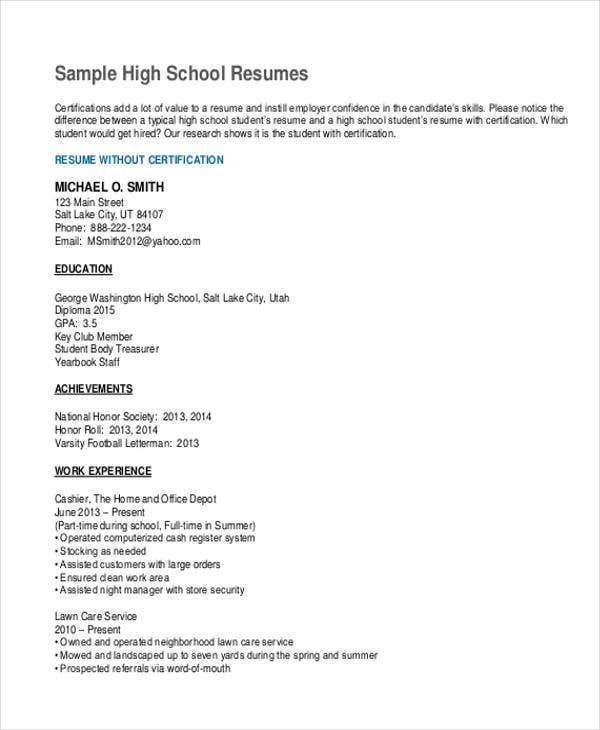 general high school resume template