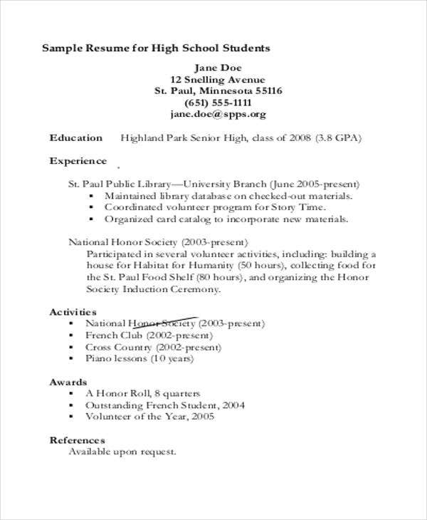 Student Resume Templates   Free Word Pdf Format Download