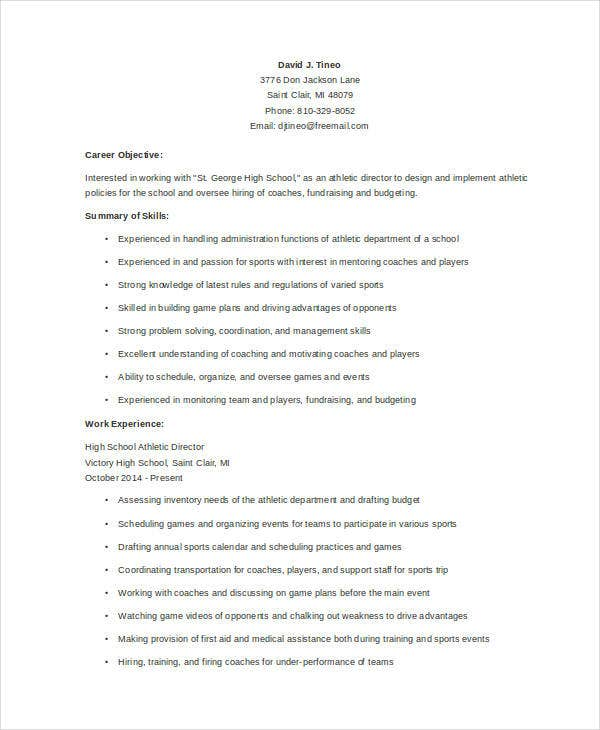Athletic Director Resume Templates  Pdf Doc  Free  Premium