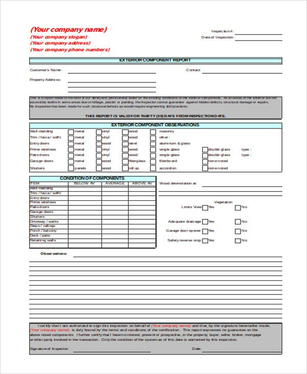 Sample Inspection Report Templates  Free  Premium Templates