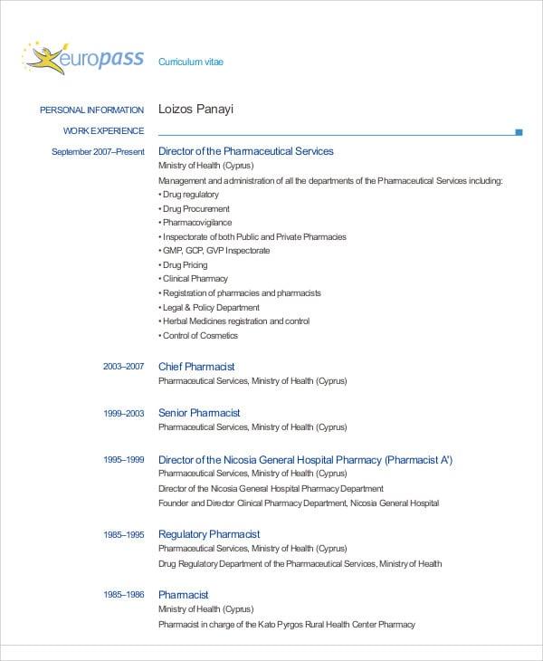 pharmacist curriculum vitae template