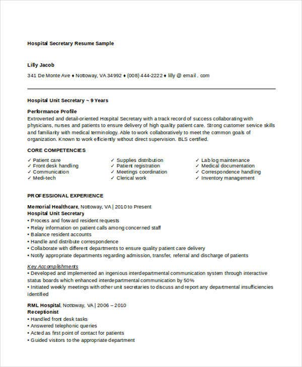 10 Secretary Resume Templates Free Sample Example