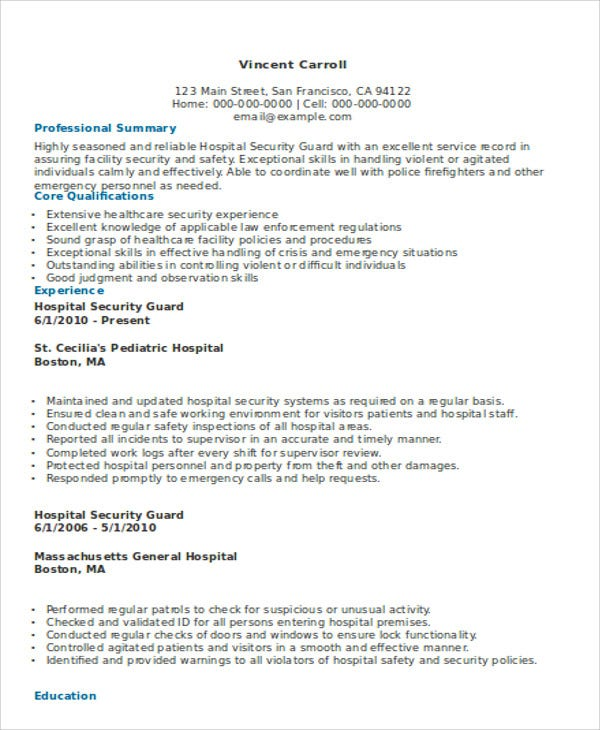 Security Resumes Security Guard Cover Letter Sop Proposal Security