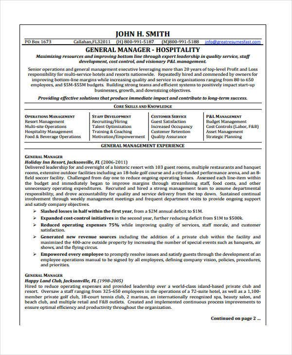Hospitality Curriculum Vitae Templates 10 Free Word Pdf Format