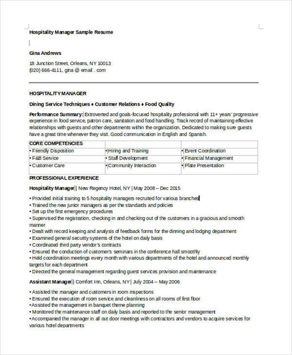 sample resume for hotel manager