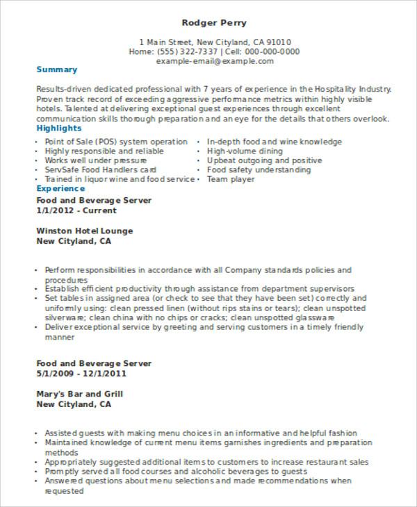 10  server resume templates