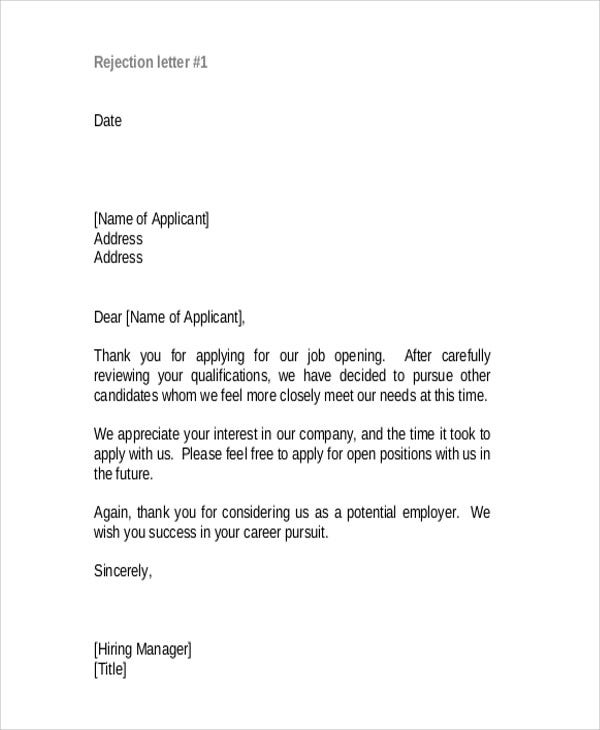 Sample Letter For Successful Candidate