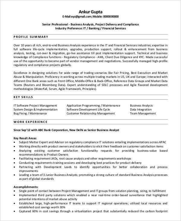 Business Analyst Cv Templates  Free Samples Examples Format