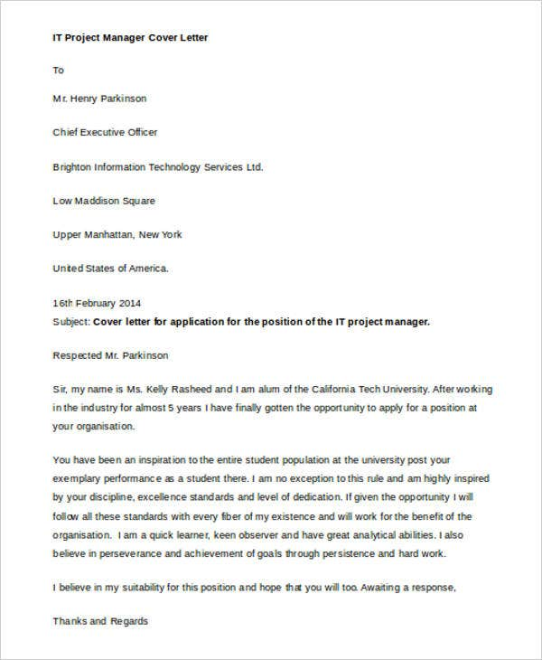 It Manager Cover Letter  Free Sample Example Format Download