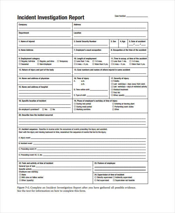 Investigation Report Templates  Free Sample Example Format