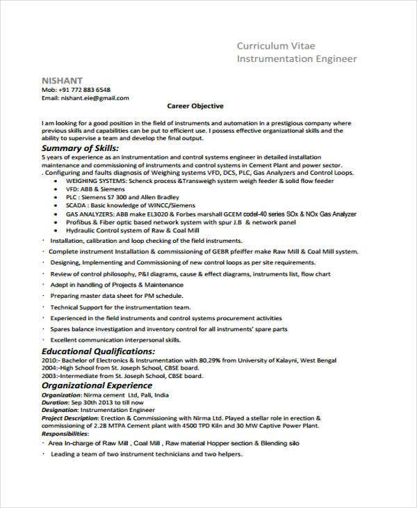 instrumentation engineer curriculum vitae