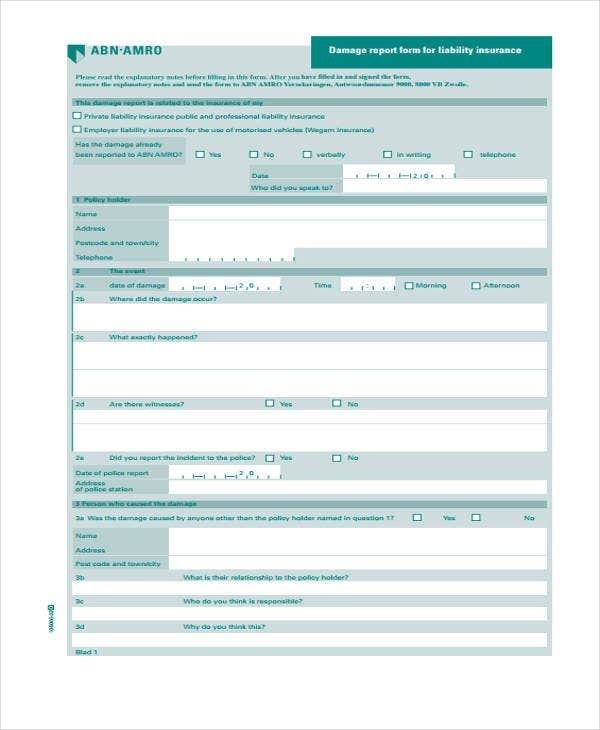 insurance assessment report template  15  Damage Report Templates - Free Sample, Example Format Download ...