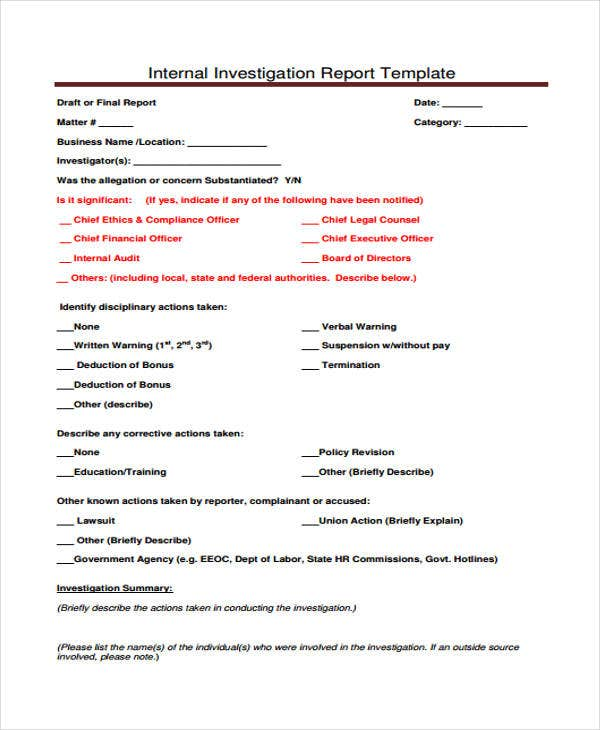 Wonderful Report Template For Internal Investigation Awesome Ideas