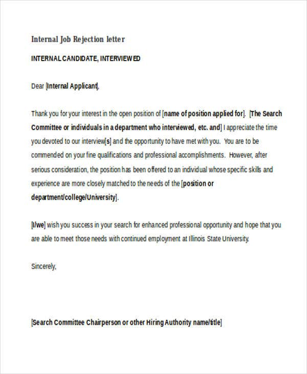 internal job application rejection letter college paper academic