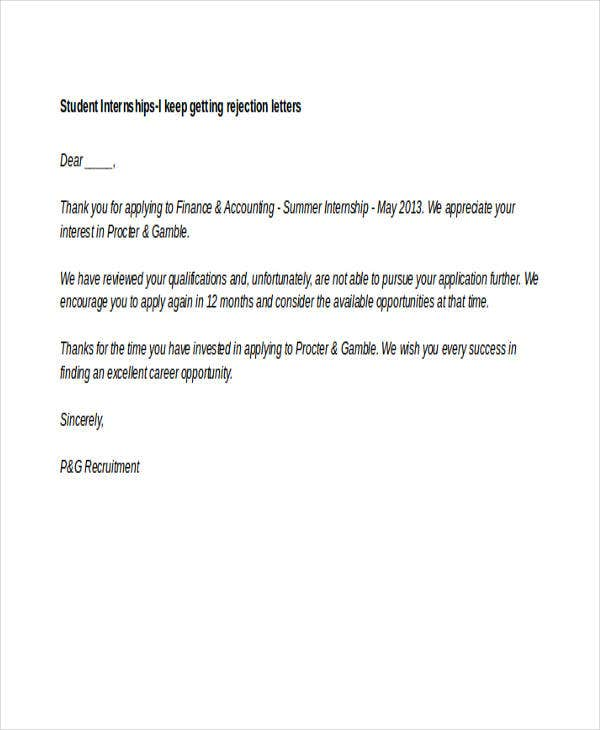 Internship Rejection Letter Templates 10 Free Word Pdf