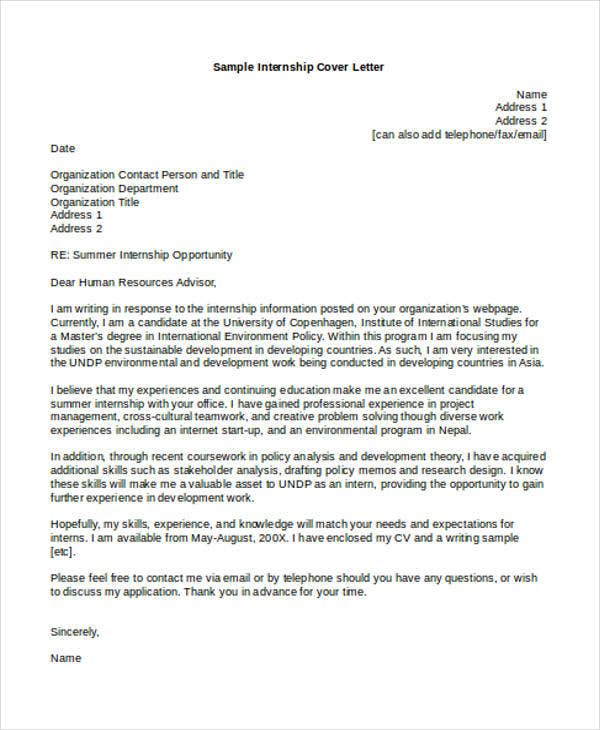 9+ Internship Cover Letter - Free Sample, Example Format ...