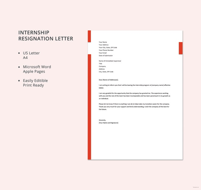 internship resignation letter template