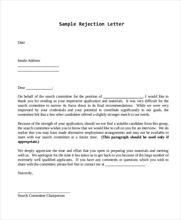 36 rejection letter pdf free premium templates for Material letters template