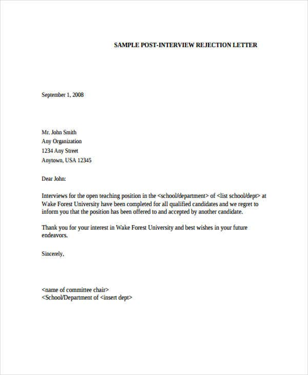 job candidate rejection letter