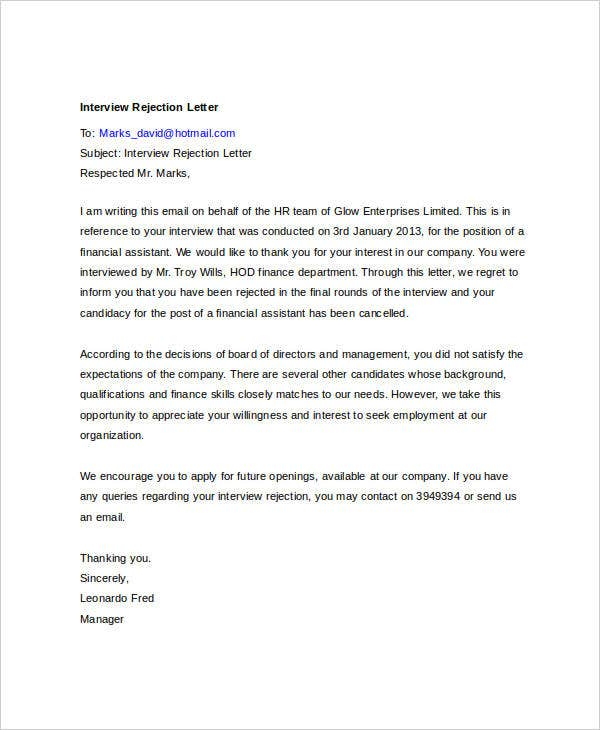 8 email rejection letters free sample example format download