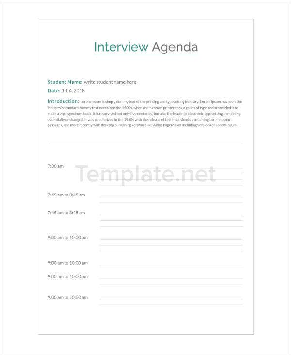 Interview Agenda Format