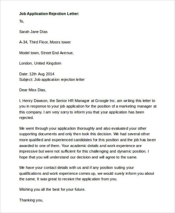 Job Rejection Letter Response Sample  CityEsporaCo