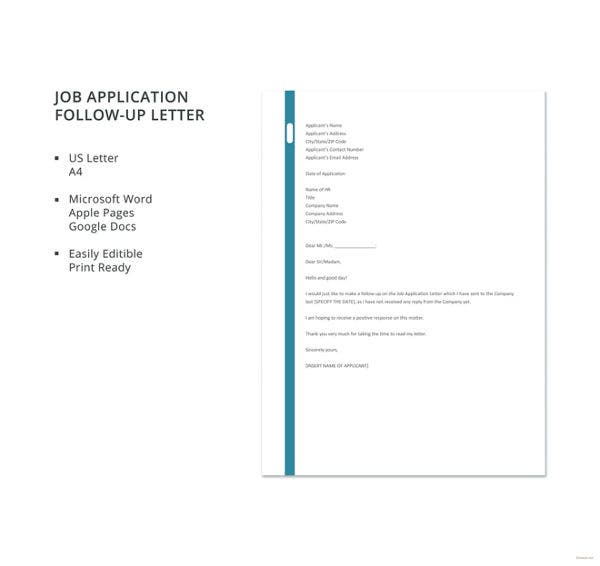 job application follow up letter template