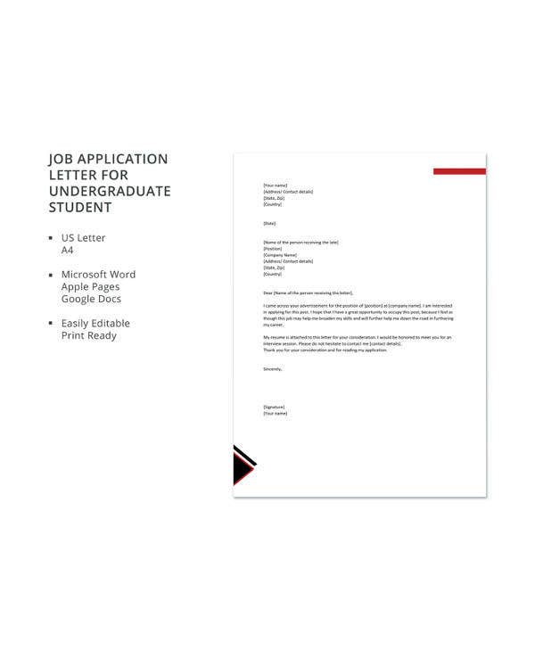 10+ Job Application Letter for Students - PDF, DOC | Free