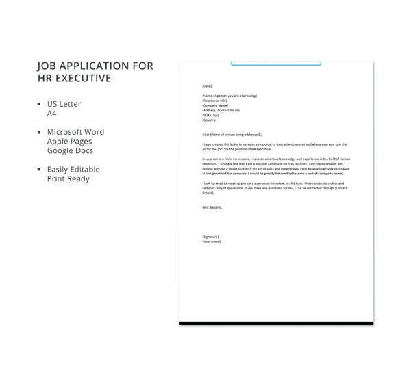 job application for hr executive