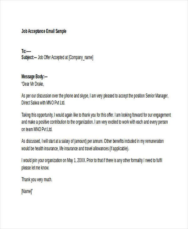job offer acceptance letter email