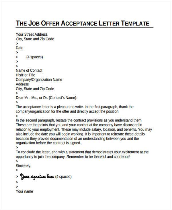Job Offer Letter Examples  Free  Premium Templates