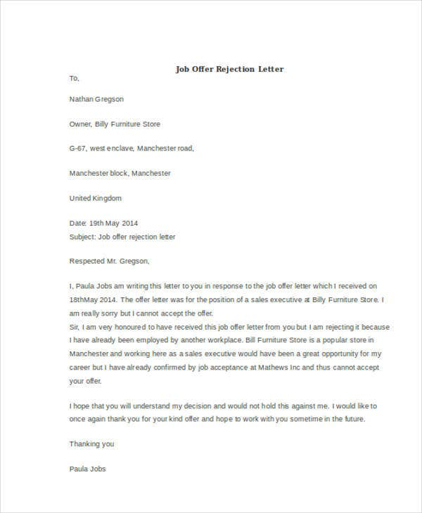 job offer rejection letter 11 sample rejection letters free amp premium templates 10881 | Job Offer Rejection Letter1